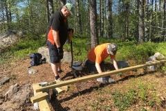 Bengt och Jukka har skött grundarbetet för paviljongen.